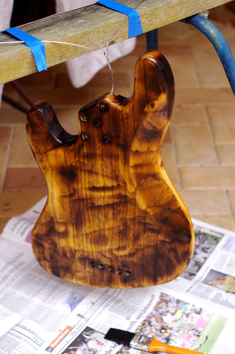 how to refinish a bass guitar or how not to. Black Bedroom Furniture Sets. Home Design Ideas